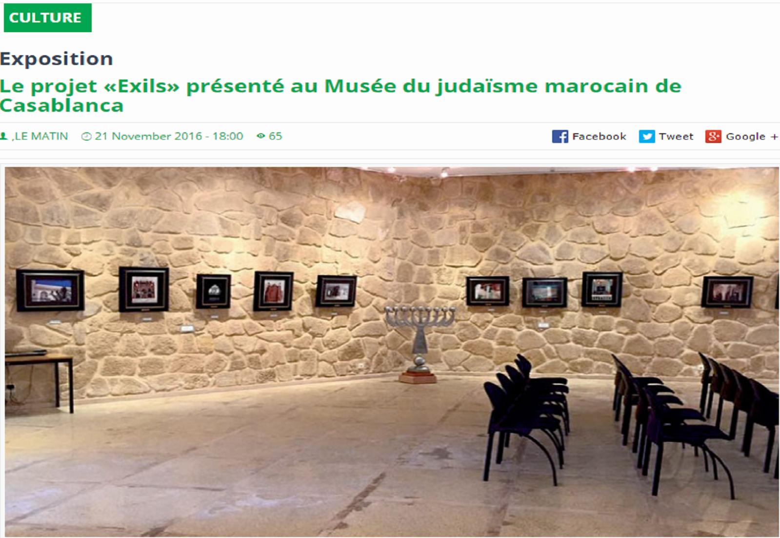 Le projet «Exils» présenté au Musée du Judaïsme Marocain de Casablanca