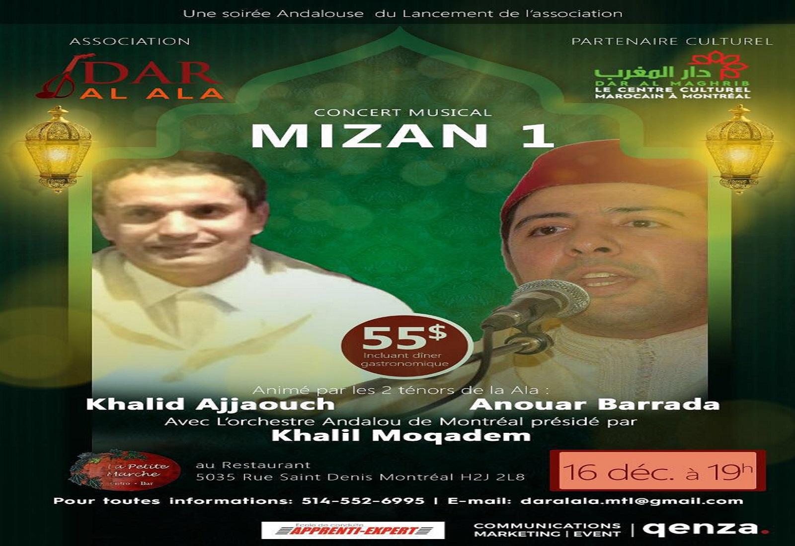 Dar Al Maghrib à Montréal présente le Grand consert musical «MIZAN 1» le 16 Décembre