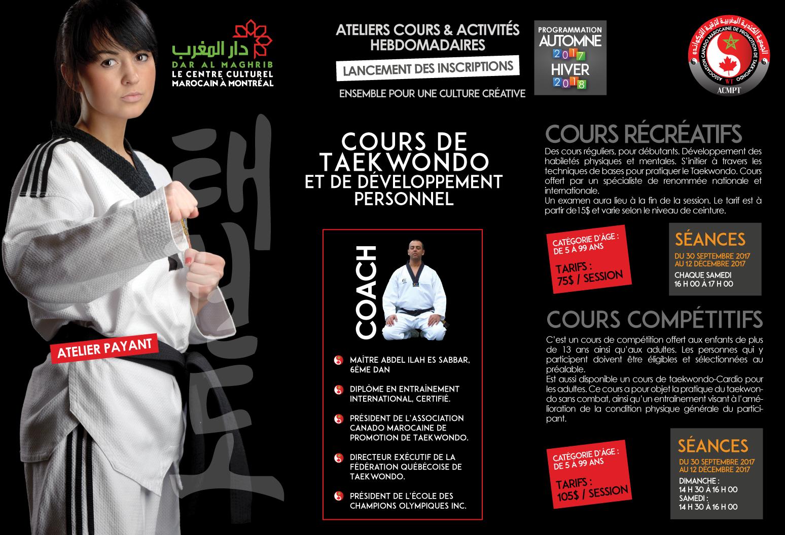 Cours de développement personnel Taekwondo Automne 2018