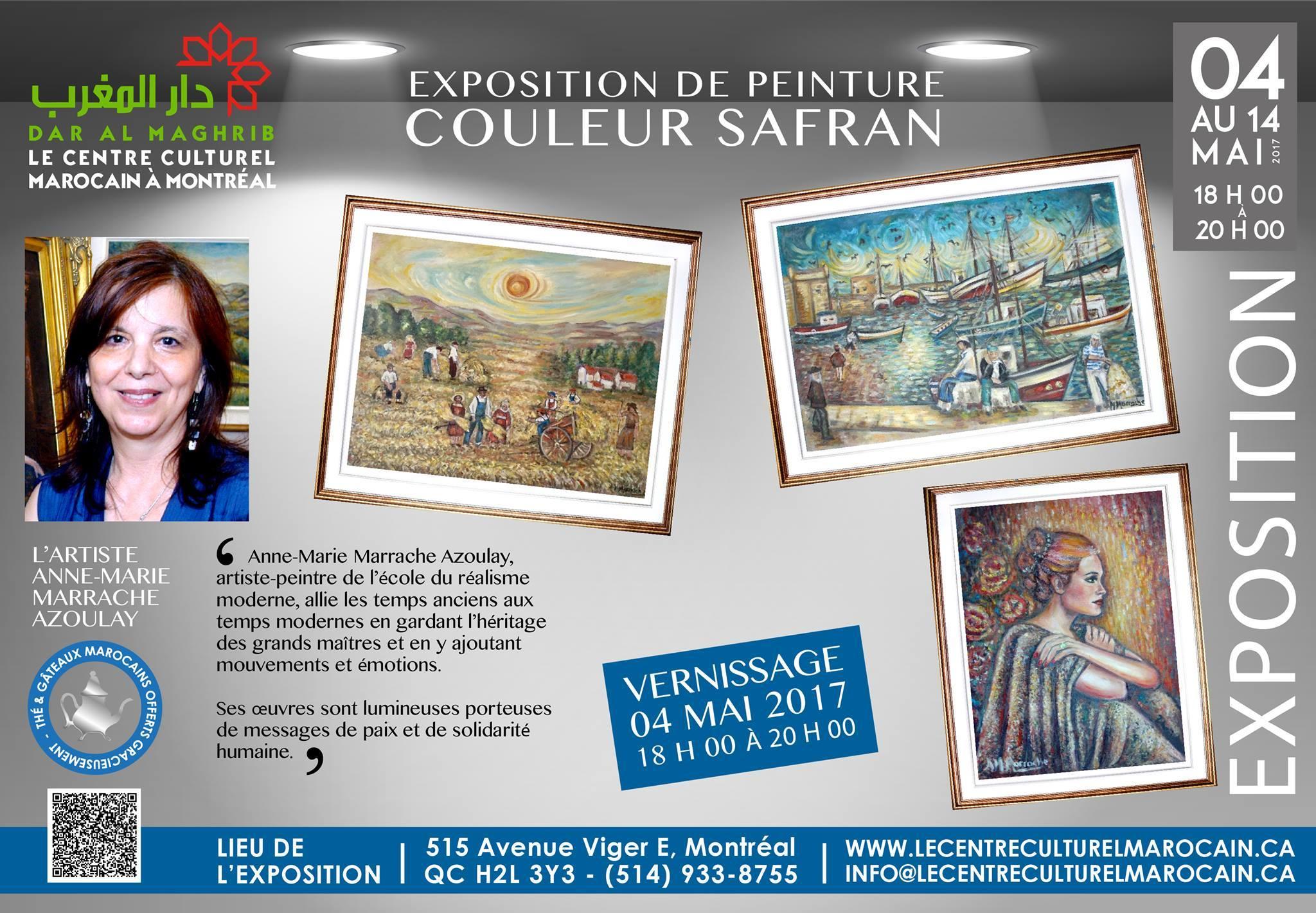 l'exposition «Couleur de Safran« de l'artiste peintre d'origine marocaine Mme Anne-Marie Marrache Azoulay.