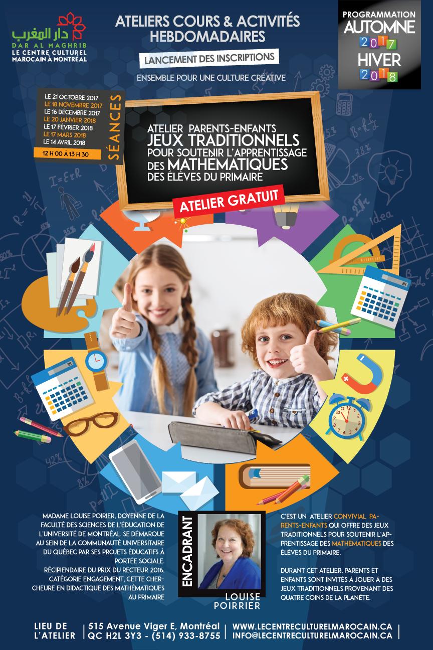 Jeux traditionnels parents-enfants, pour le soutien de l'apprentissage des mathématiques des élèves du primairet Automne 2018 et hiver 2019