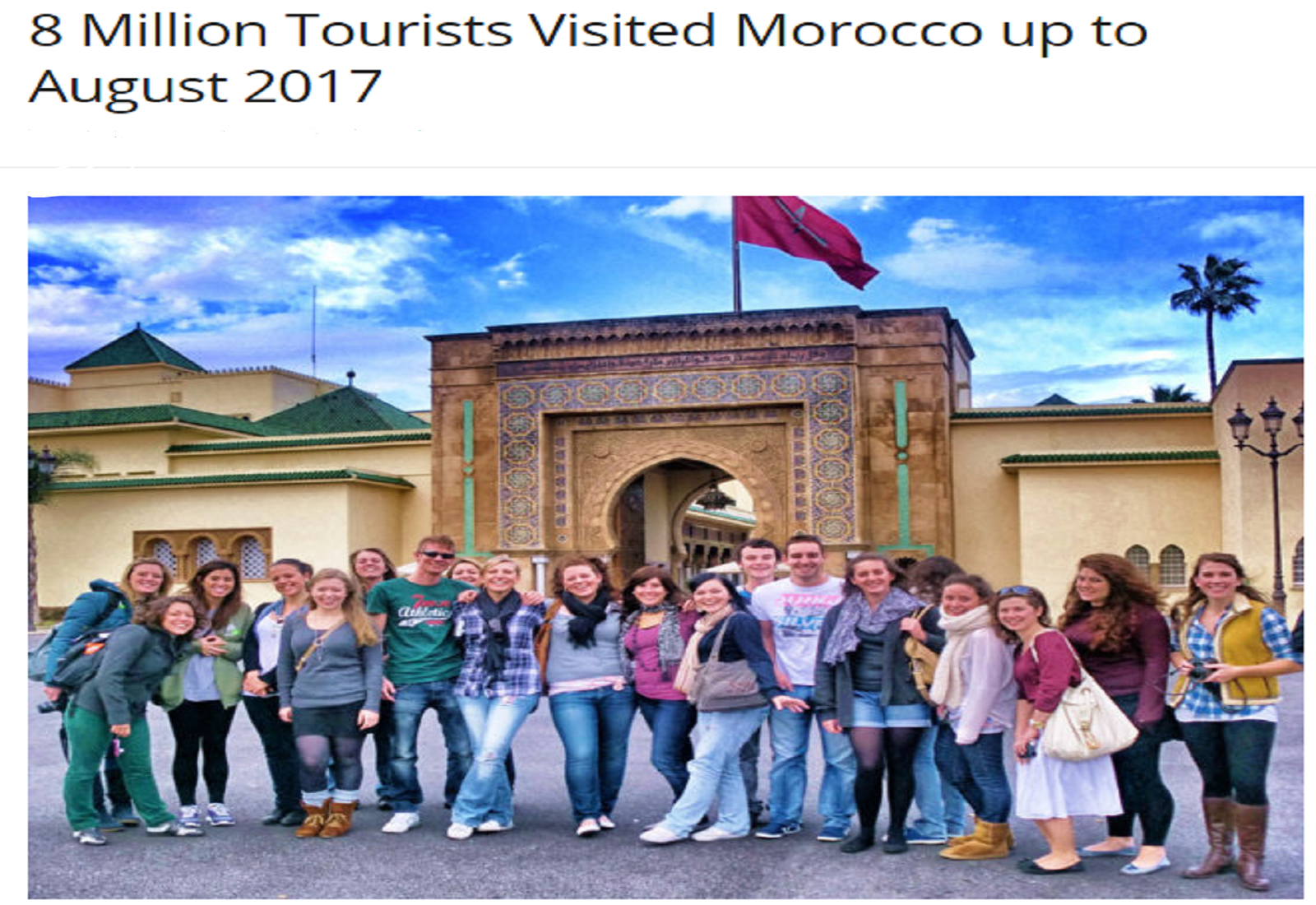 8 Million Tourists Visited Morocco up to August 2017