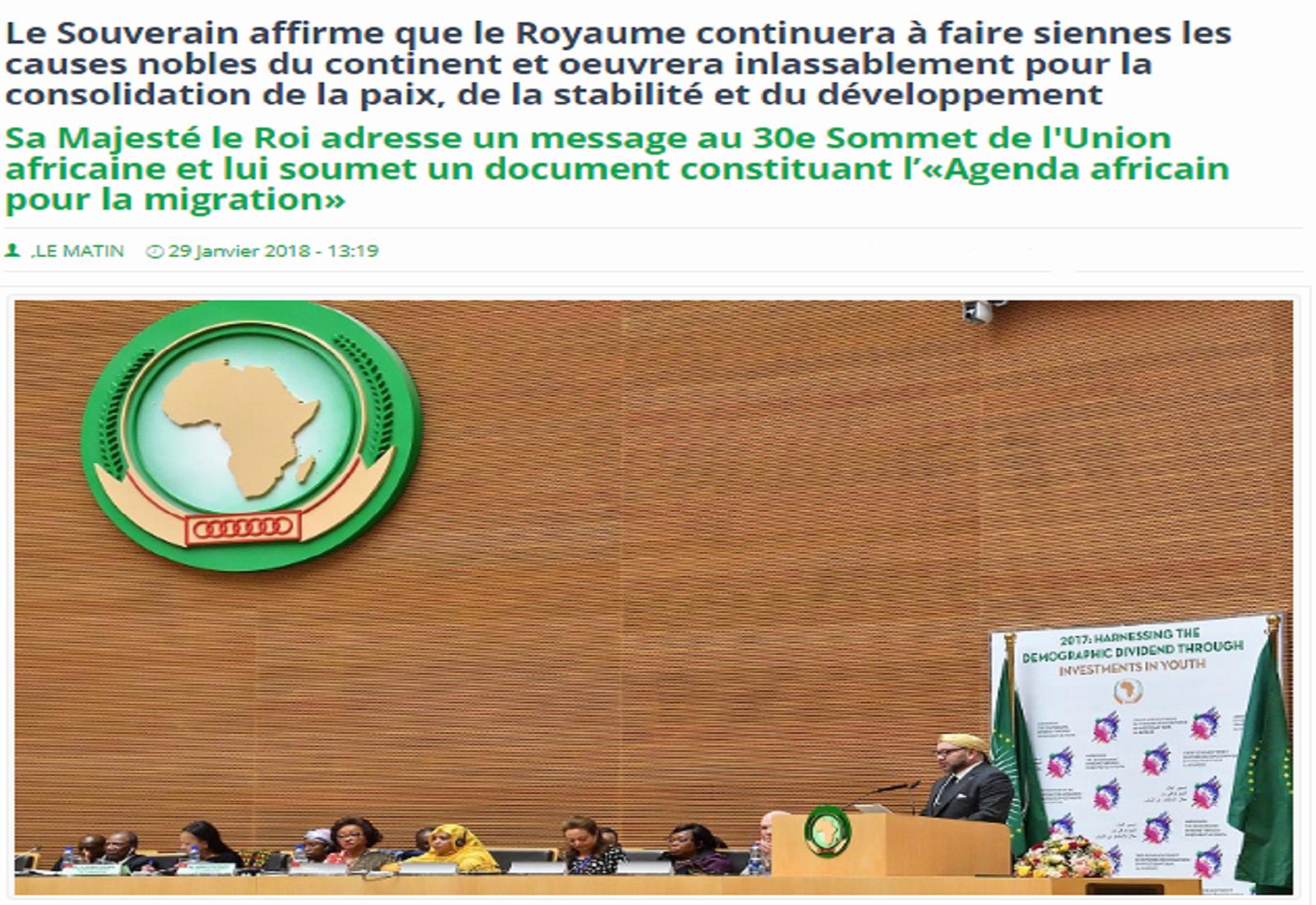 Sa Majesté le Roi adresse un message au 30e Sommet de l'Union africaine