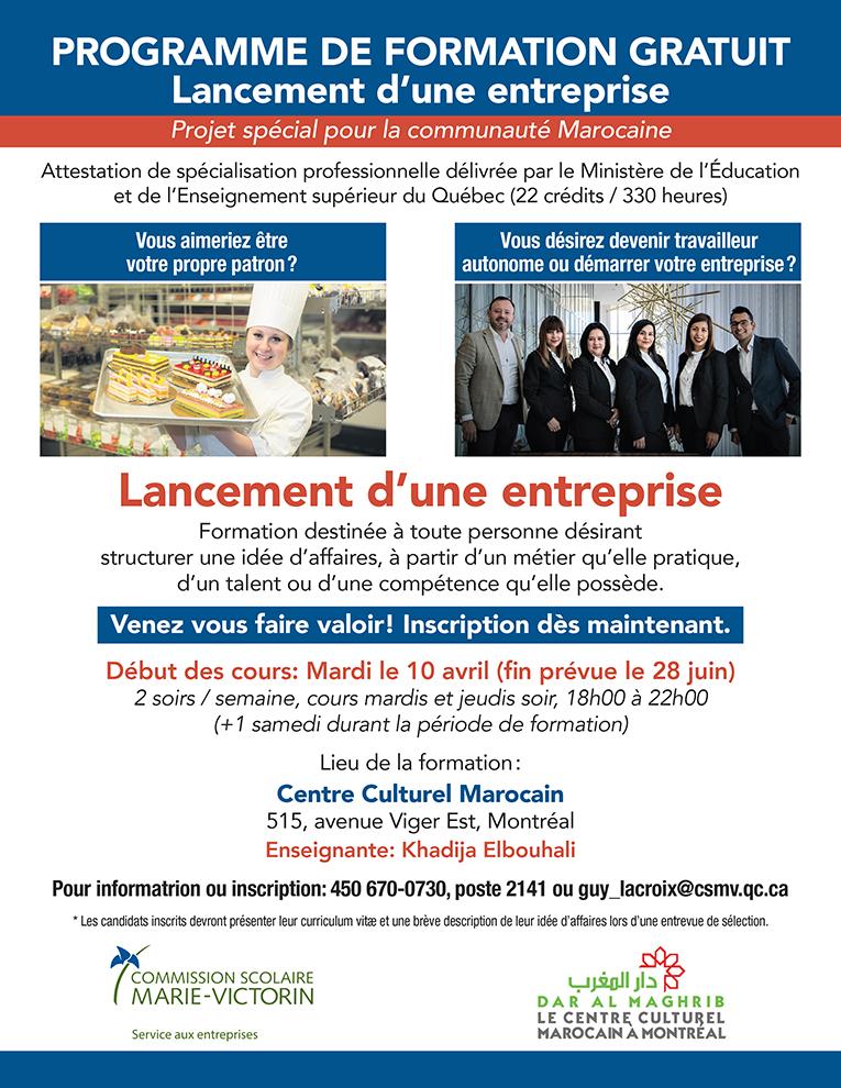 PROGRAMME DE FORMATION GRATUITE «LANCEMENT D'UNE ENTREPRISE»