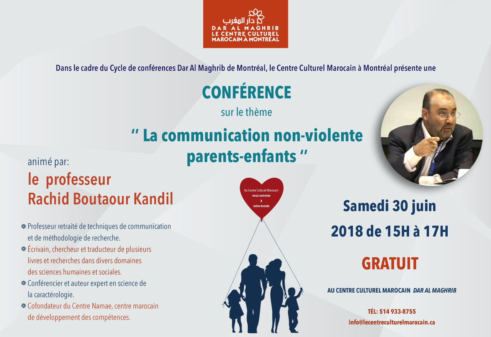 Cycle de conférence_Dar Al Maghrib «la communication non-violente, parents-enfants»