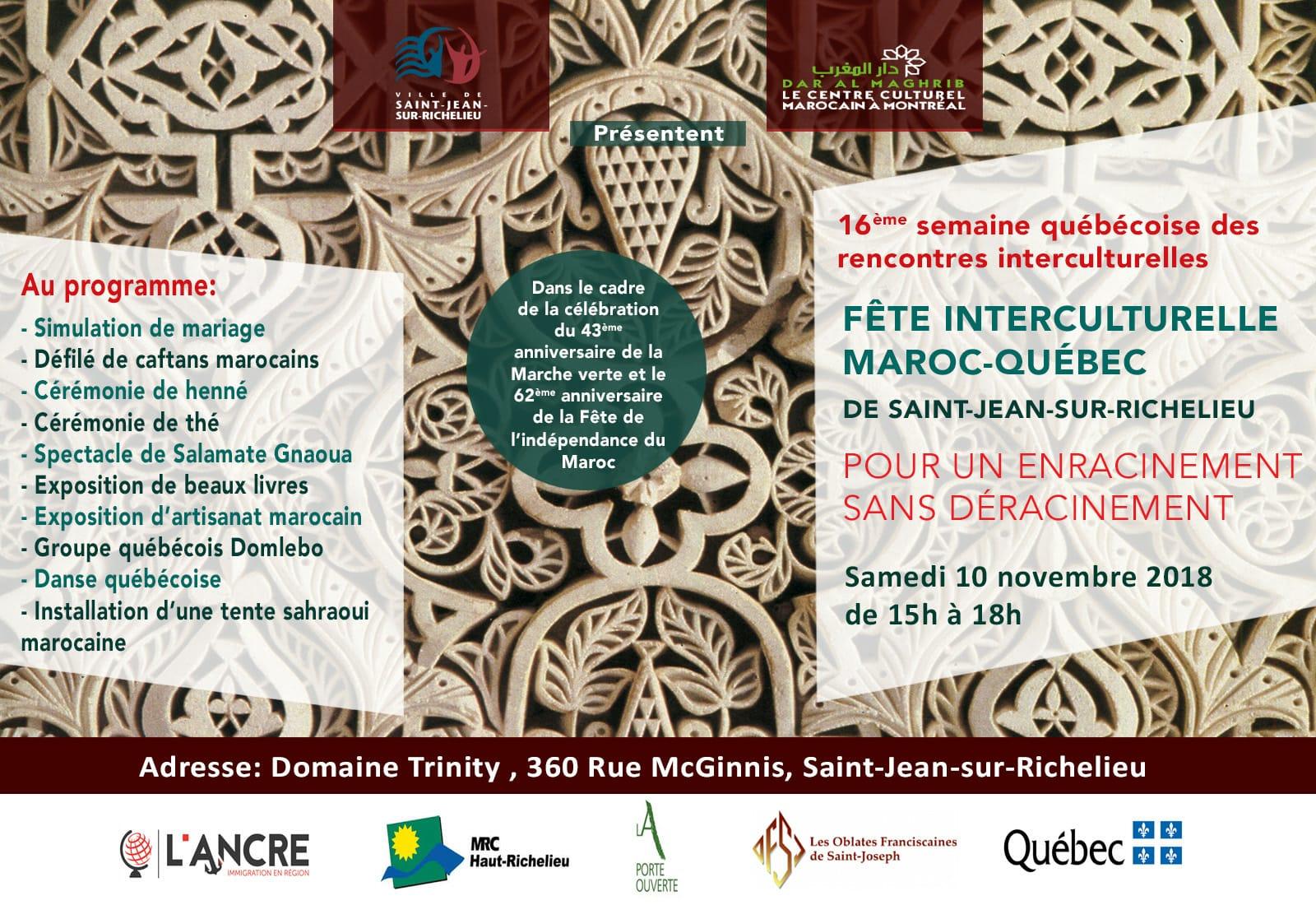 Une fête interculturelle Maroc – Québec met à l'honneur la culture marocaine à Saint-Jean-sur-Richelieu